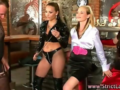 Smoking femdoms teach cock lesson