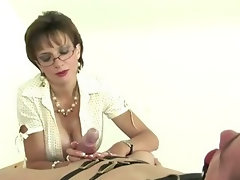 Mature stocking brit Sonia femdom blowjob
