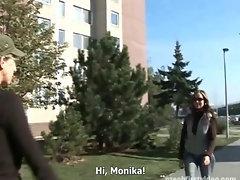 CZECH FIRST VIDEO - BUSTY BRUNETTE MONIKA WOULD BE A PORNSTAR