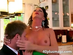 Nasty mom seduces a younger guy