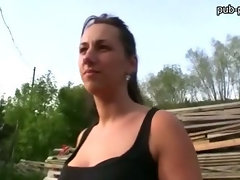 Amateur Czech girl convinced to have sex in public