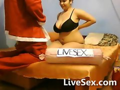 Santa surprised the big titted girl