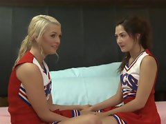 Cassie Laine and her cheerleader pal tongue some twat