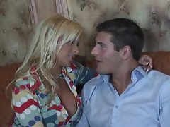 Holly Halston jumps up and down and all around on a lucky guys stiff rod
