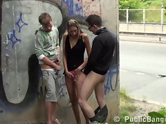 Gorgeous Busty teen in public group sex threesome
