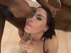 Dana DeArmond puts her pretty face in the way of a big load of cum