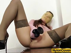 Mona Lee nylons fully covered dildo masturbation video