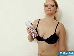 Redhead babe whip cream on tits and pussy