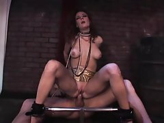 Fetish babe Audrey Hollaner is tied up and group fucked
