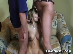 Busty german girlfriend sucks 2 cocks and eats cum
