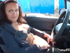 Naughty Mila gets fucked in a car