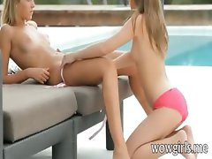 Yummy lesbian teens fingering and eating their fresh pink pussies in the resort