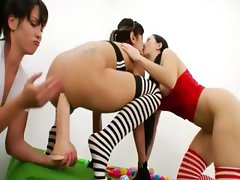 trio of luxury lesbians sexing hard