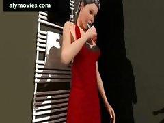 Animated lesbians enjoying a dildo
