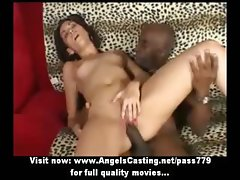 Brunette schoolgirl does blowjob for black guy and gets fucked hard