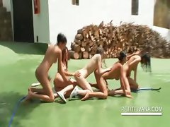Outdoor lesbo orgy with naked teen hotties