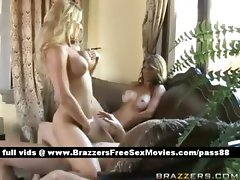 Two naked blonde babes on the couch get their wet pussy and ass fucked
