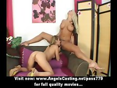 Stunning blonde lesbians toying pussy and licking pussy on couch