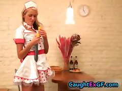 Cuty maid serving pussy exgf video