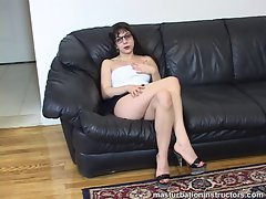 Clothed jerk off teacher caresses her body for teasing