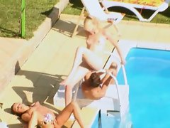 Three coeds secret banging by the pool