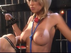 Filthy blond gagged and bound in prison