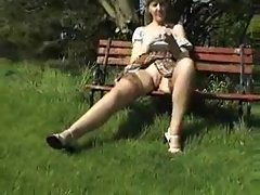 Sara upskirt in the Garden