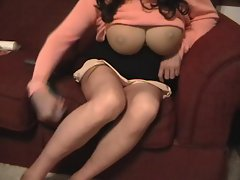 Crossdresser groping-squirming into panties