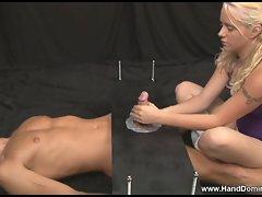 Femdom handjob princess is very demanding and mean to slave