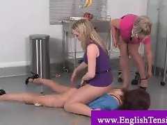 Transvestite gets gunged by dominas