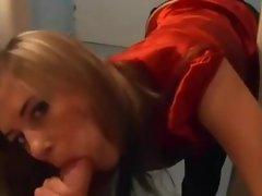 Horny blond sucking cock in the bathroom