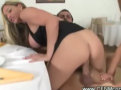 Horny milf enjoys her side dish of cock from waitor
