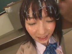 A very messy schoolgirl bukkake