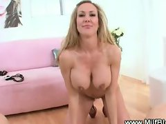 Horny milf strip teases then fills mouth with cock