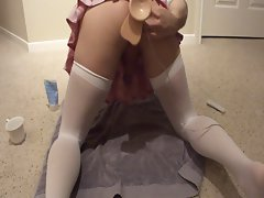 Fucking my sissy school girl ass doggy style with a dildo