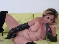 Amateur housewife playing with her special toys