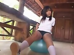 Hot Japanese girl with blue ball
