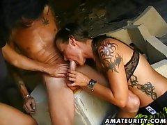 Two amateur sluts fuck one guy with cumshot