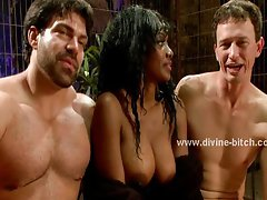 Two white man slaves dominatrix video