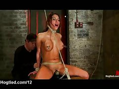 Tightly bound to the box babe clit vibed