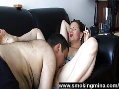 Smoking milf got licked