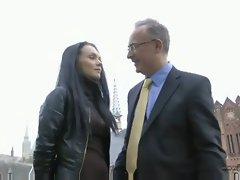 Russian brunette fucks an older dude