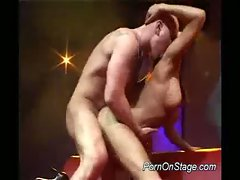 Hot, seductive stripper gets fucked deep and hard on stage