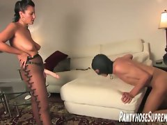 Nasty femdom mistress forcing a horny fucker for her desires