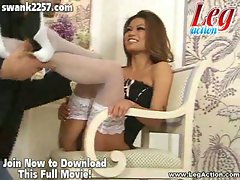 Horny guy admiring hot charmane star's legs and feet