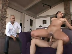Busty oiled wife fucked infront of husband