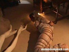 Rough sex rope bondage with cute looking japanese slut