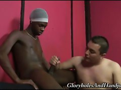 Horny japanese gay giving monster black cock awesome handjob