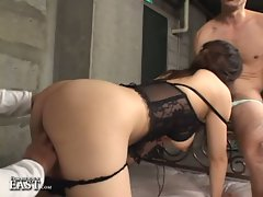 Busty brunette asian chick in uncensored threesome