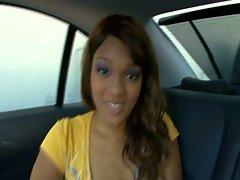 Hot chick fucked in the car POV